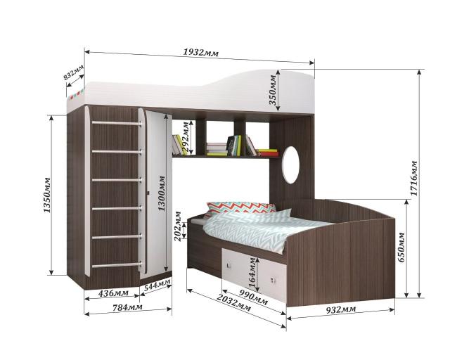 Кровать Кадет-2 с металлической лестницей