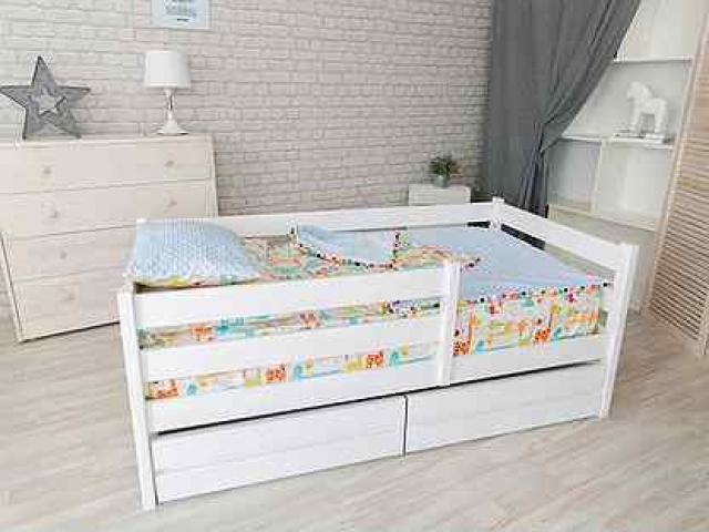 Кровать-чердак Малыш голубой/лайм/