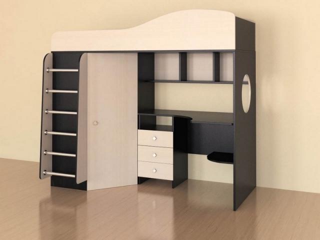 Кровать чердак Кадет 1 с металлической лестницей