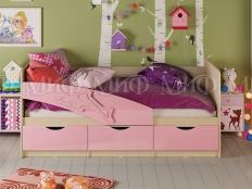 Кровать  Дельфин 3D МДФ  розовый металлик