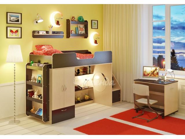 Кровать чердак Легенда 3.6 с полками