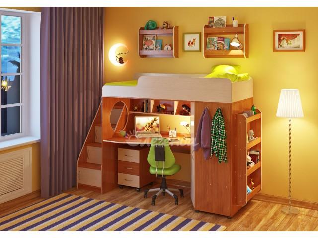 Кровать чердак Легенда 4.3 с полками