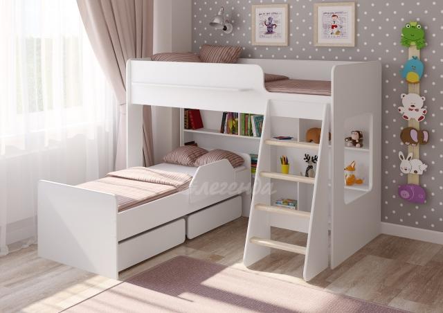Двухъярусная кровать Легенда-26.2 белая