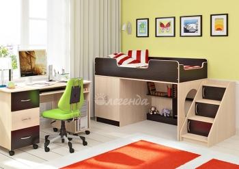 Кровать со столом Легенда-2.3 лайм/голубой/