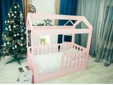 Кровать-домик с верхом Розовый