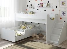Двухъярусная кровать выкатная Легенда 23.4 белая