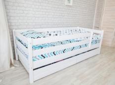 Кровать Манеж массив берёзы, белая